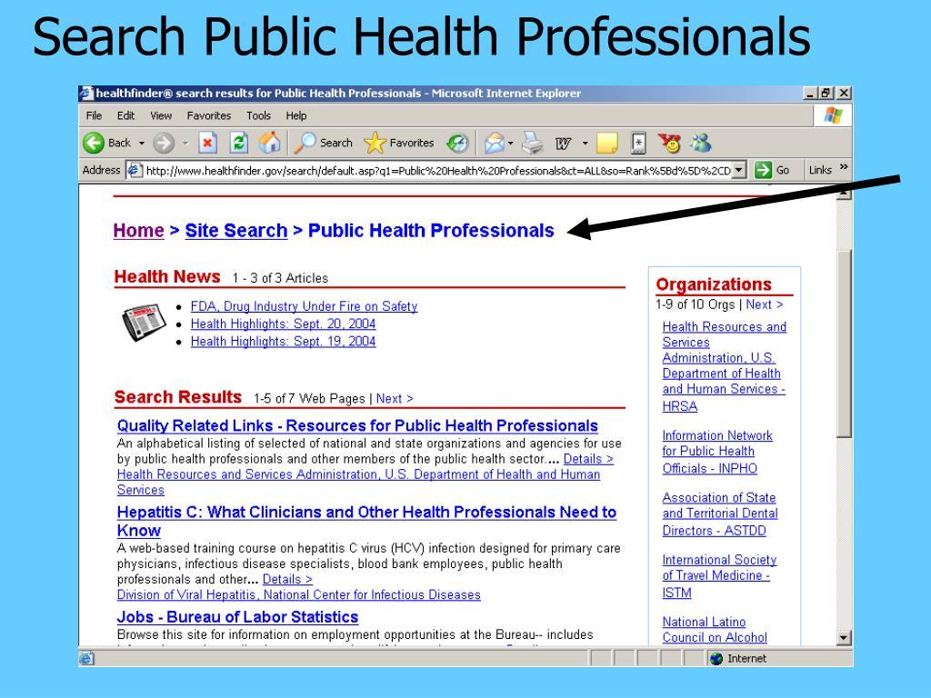 Search Public Health Professionals