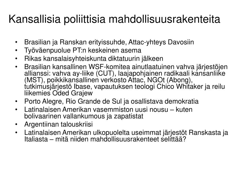 Kansallisia poliittisia mahdollisuusrakenteita