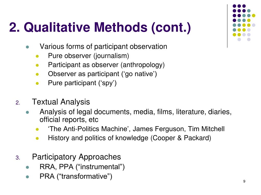 2. Qualitative Methods (cont.)