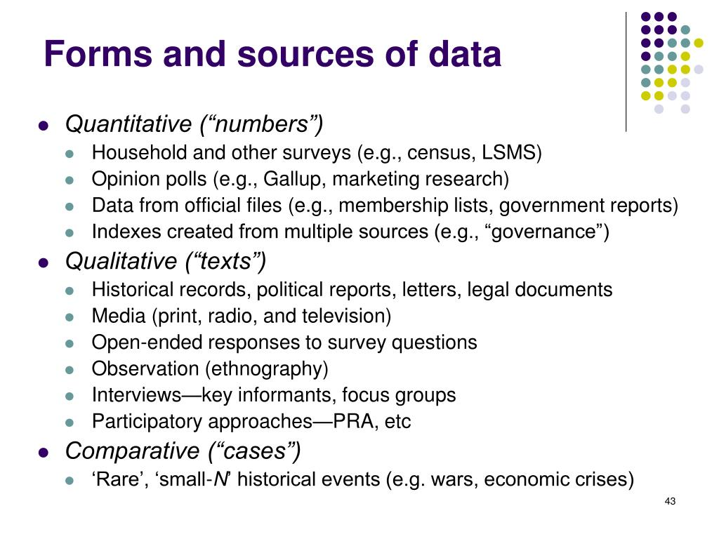 Forms and sources of data