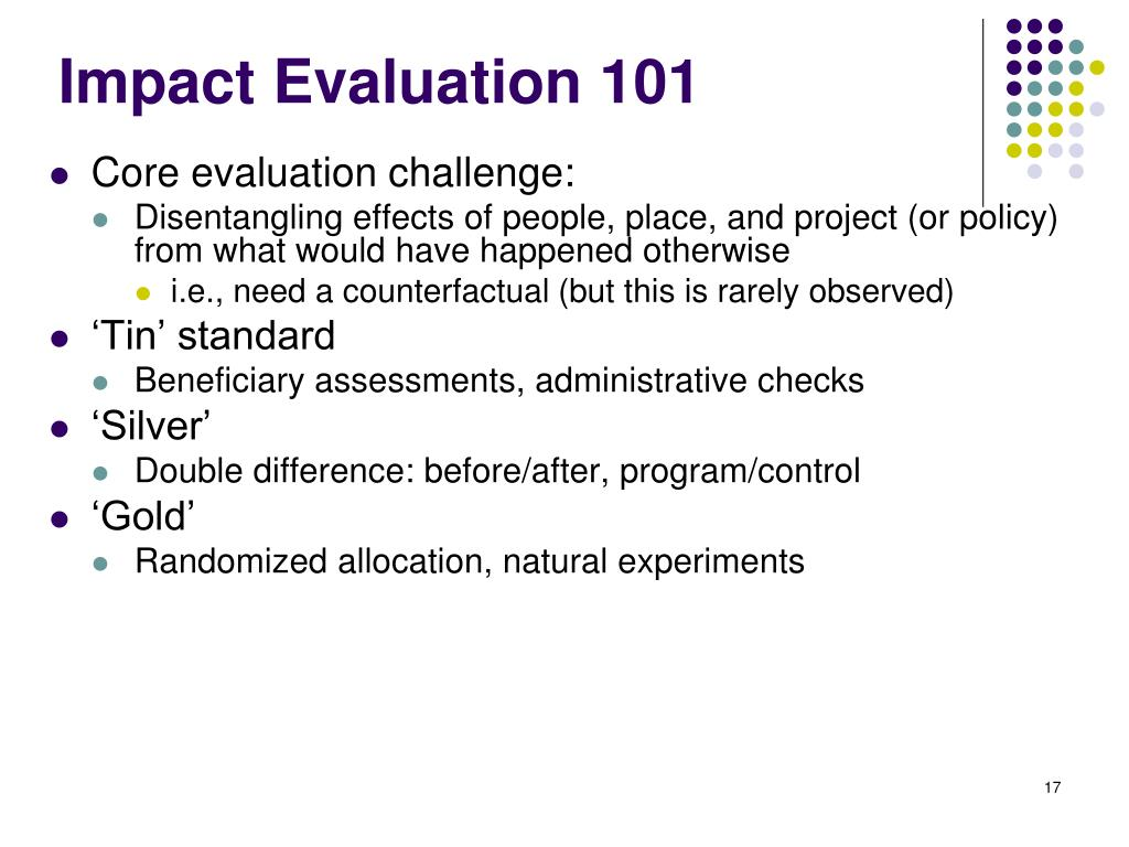 Impact Evaluation 101