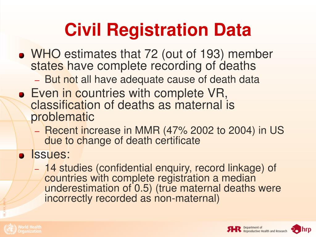 Civil Registration Data