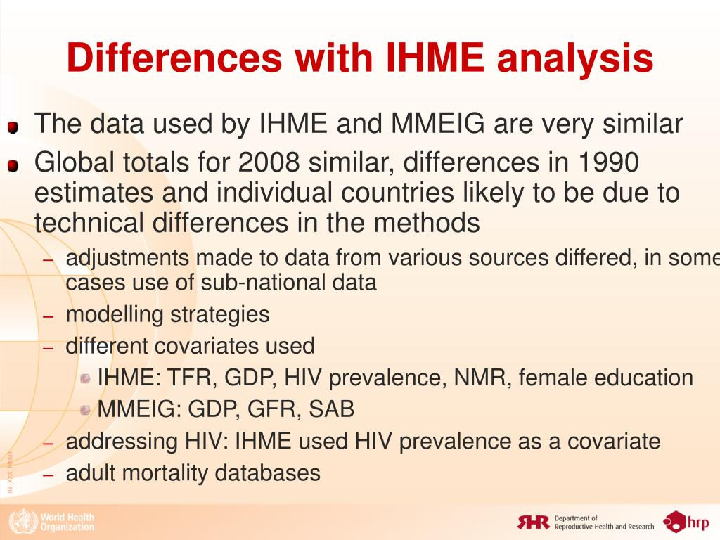 Differences with IHME analysis
