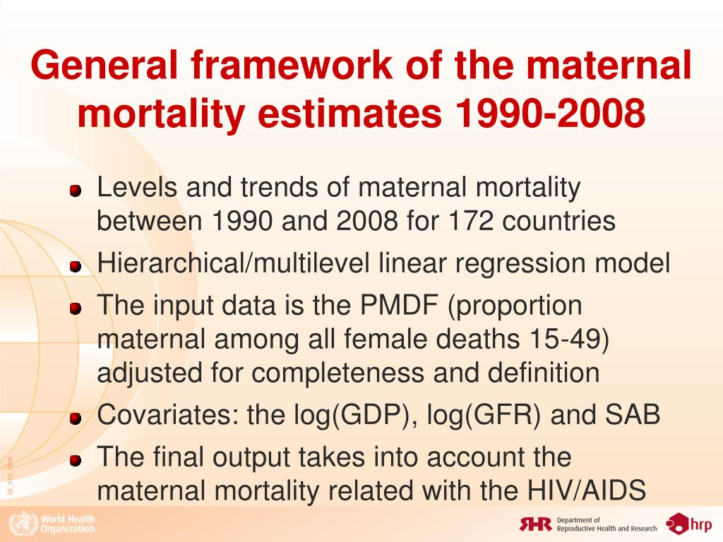 General framework of the maternal mortality estimates 1990-2008