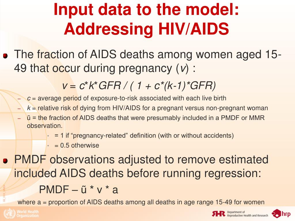 Input data to the model: Addressing HIV/AIDS