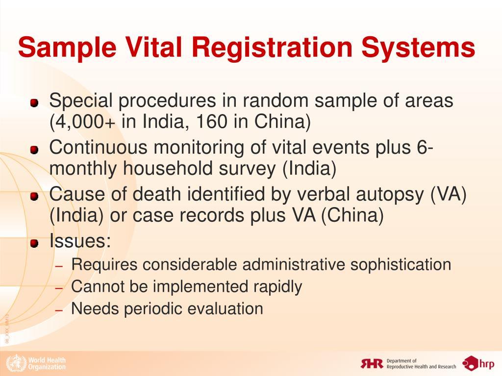 Sample Vital Registration Systems