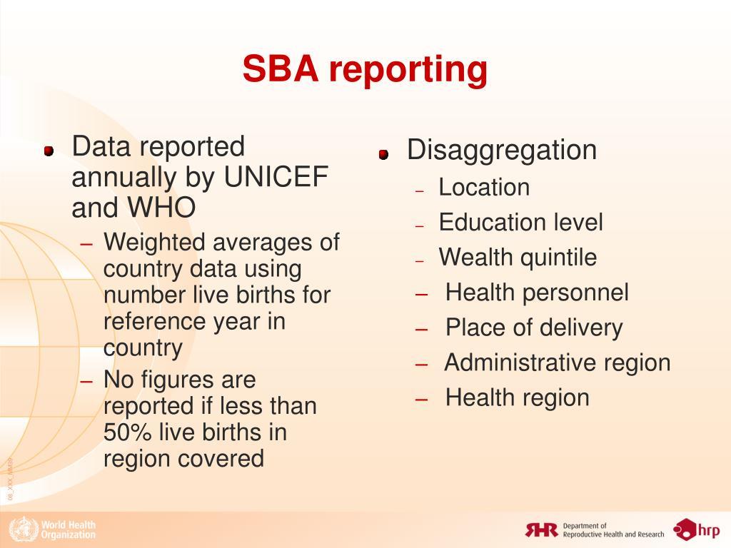 SBA reporting