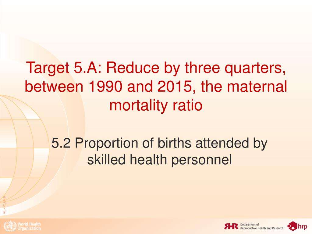 Target 5.A: Reduce by three quarters, between 1990 and 2015, the maternal mortality ratio