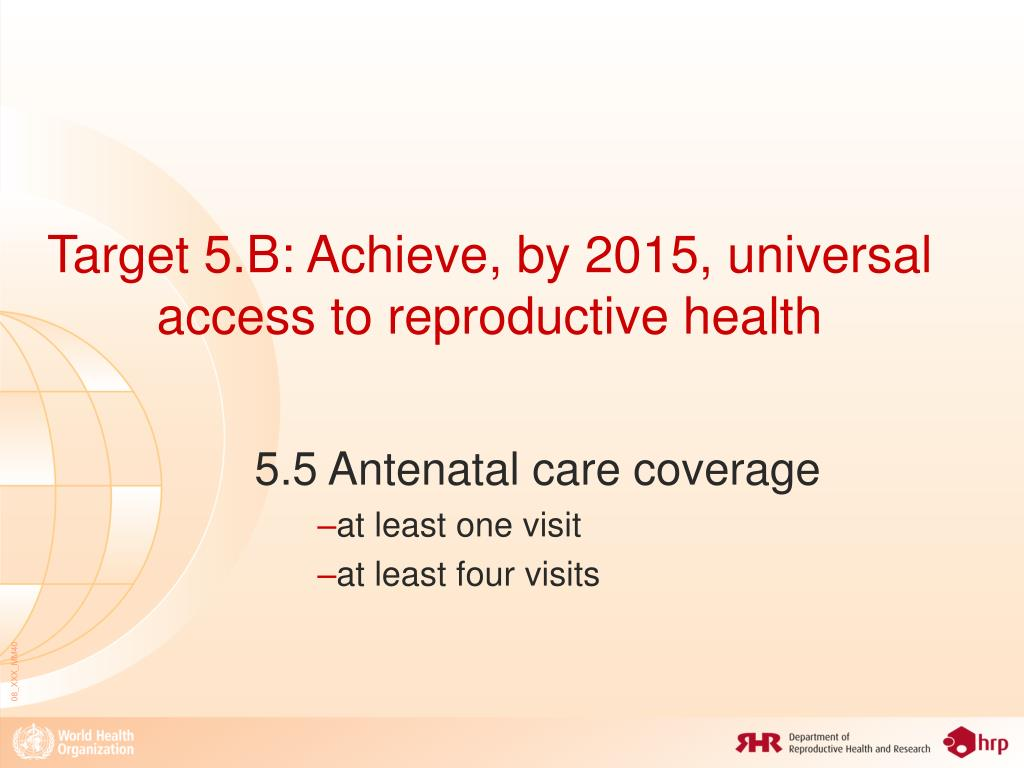 Target 5.B: Achieve, by 2015, universal access to reproductive health