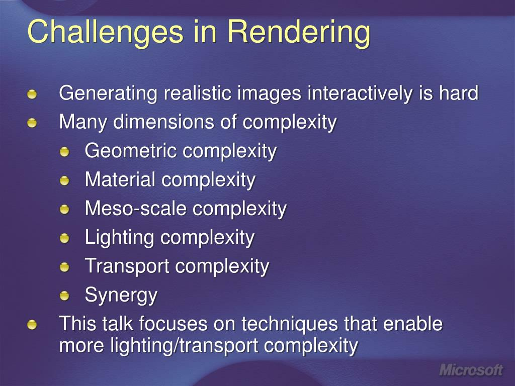 Challenges in Rendering