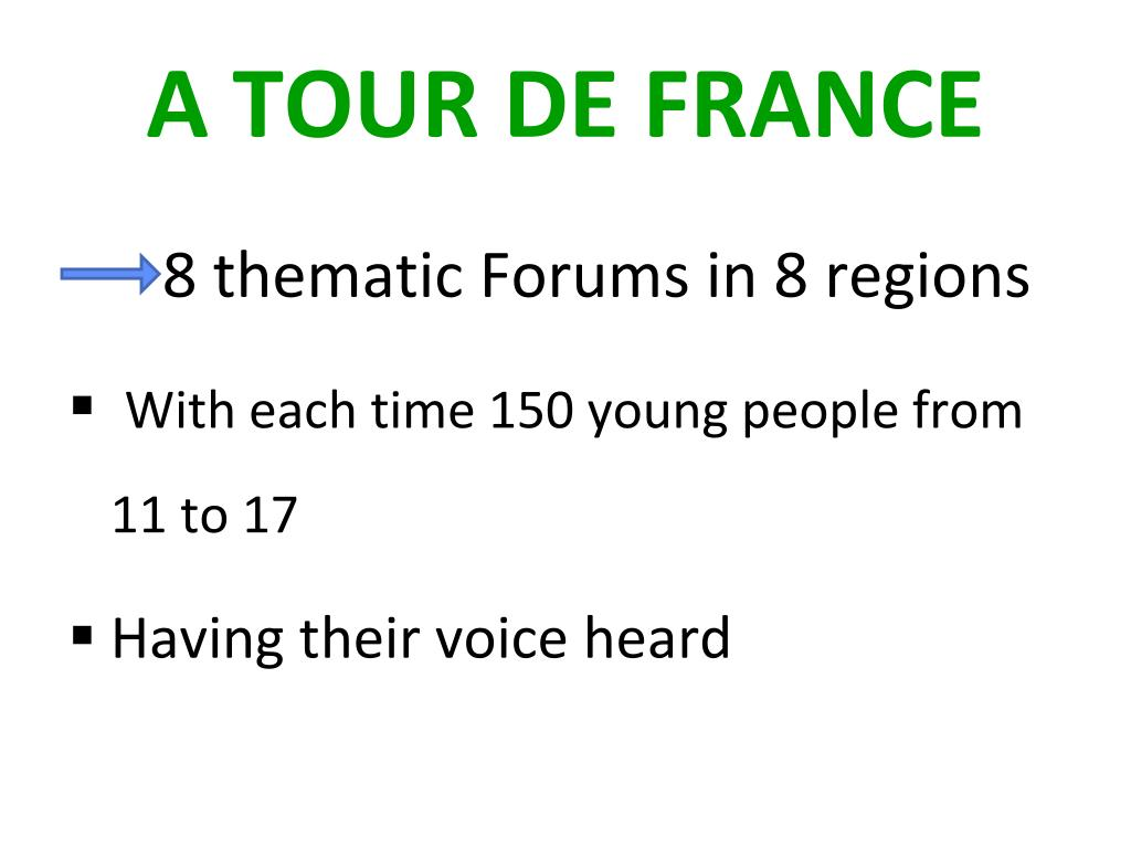 8 thematic Forums in 8 regions