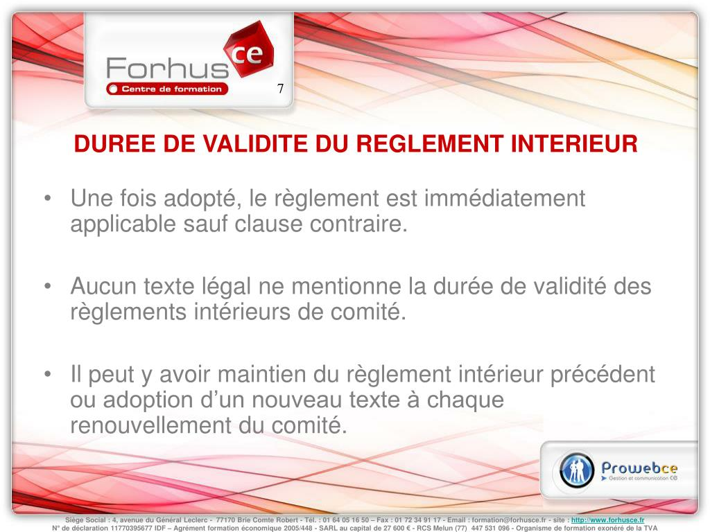 Reglement interieur comite entreprise 28 images mod for Le reglement interieur