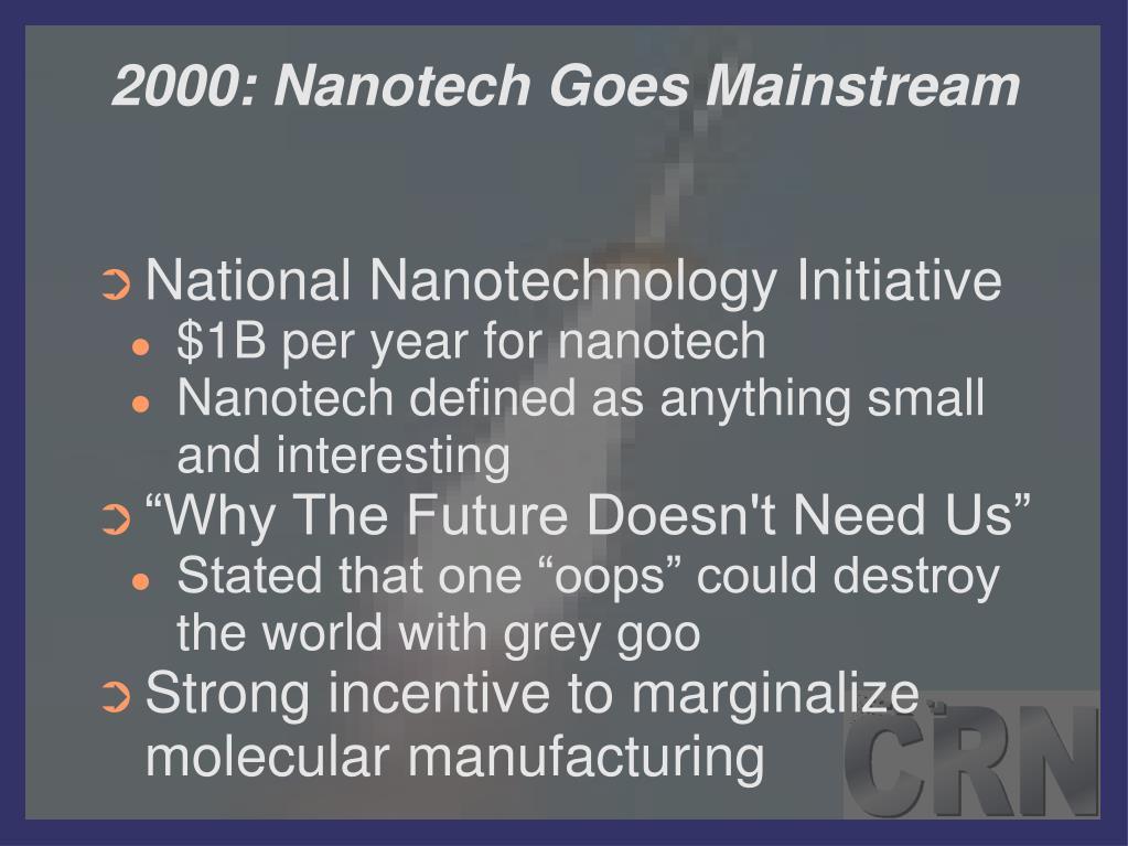 2000: Nanotech Goes Mainstream
