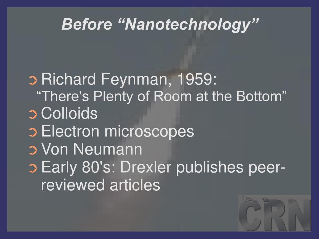 """Before """"Nanotechnology"""""""