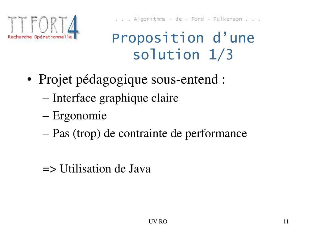 Proposition d'une solution 1/3