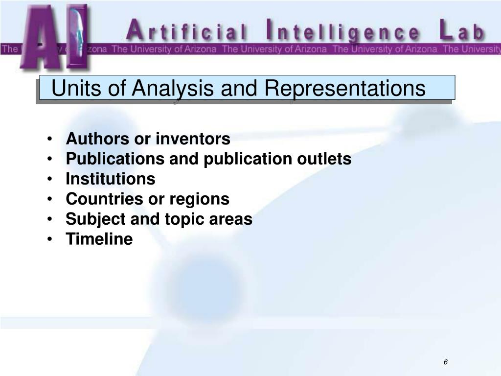 Units of Analysis and Representations