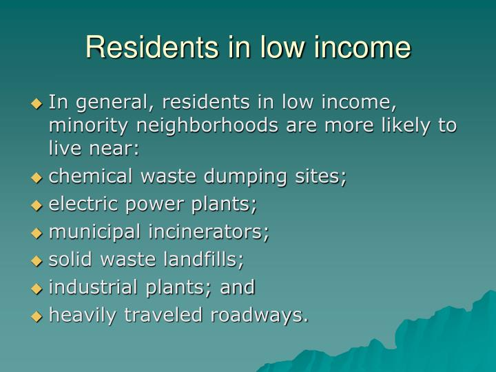 Residents in low income