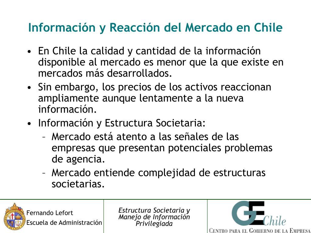 Información y Reacción del Mercado en Chile