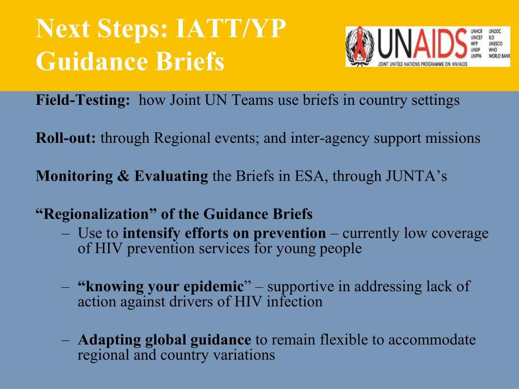 Next Steps: IATT/YP