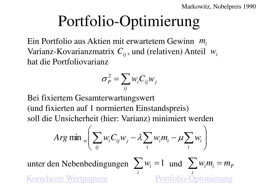 Ein Portfolio aus Aktien mit erwartetem Gewinn