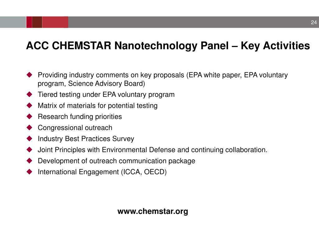 ACC CHEMSTAR Nanotechnology Panel – Key Activities