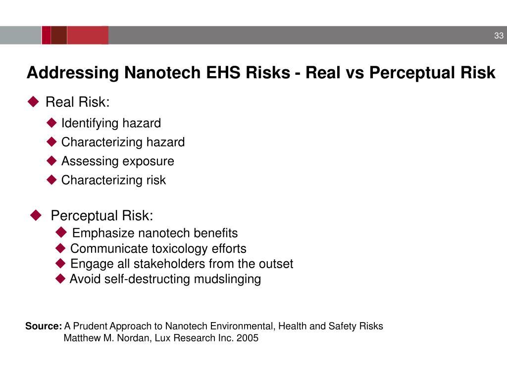 Addressing Nanotech EHS Risks - Real vs Perceptual Risk