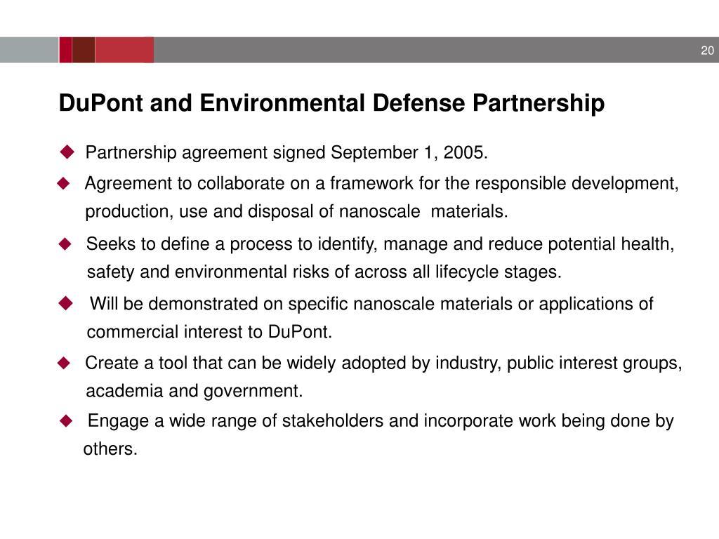 DuPont and Environmental Defense Partnership