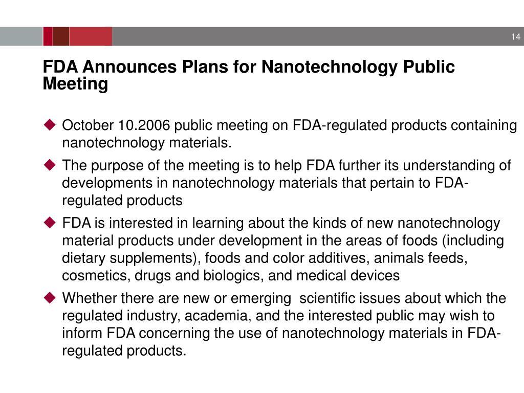 FDA Announces Plans for Nanotechnology Public Meeting