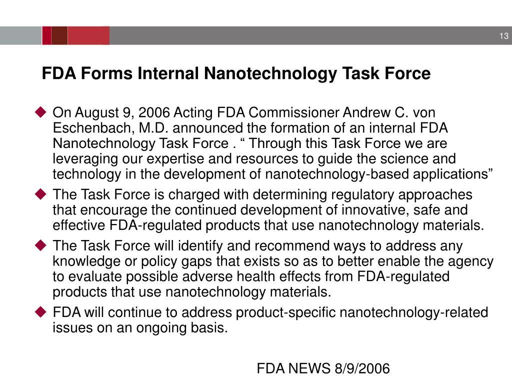 FDA Forms Internal Nanotechnology Task Force