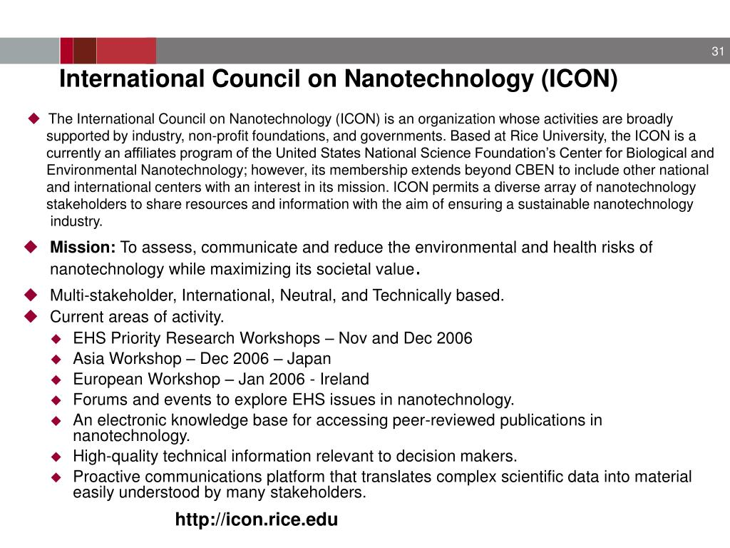 International Council on Nanotechnology (ICON)