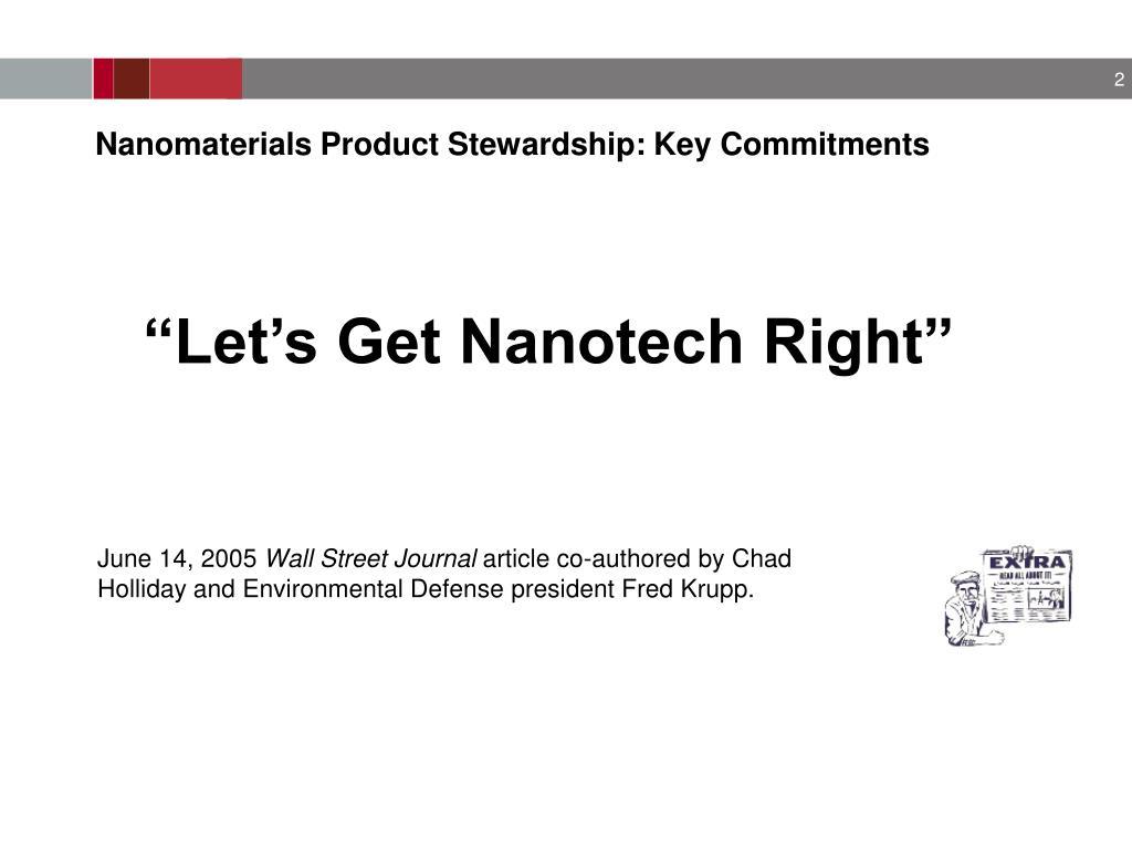 Nanomaterials Product Stewardship: Key Commitments