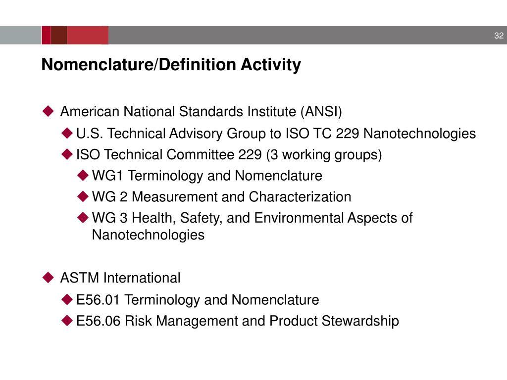 Nomenclature/Definition Activity