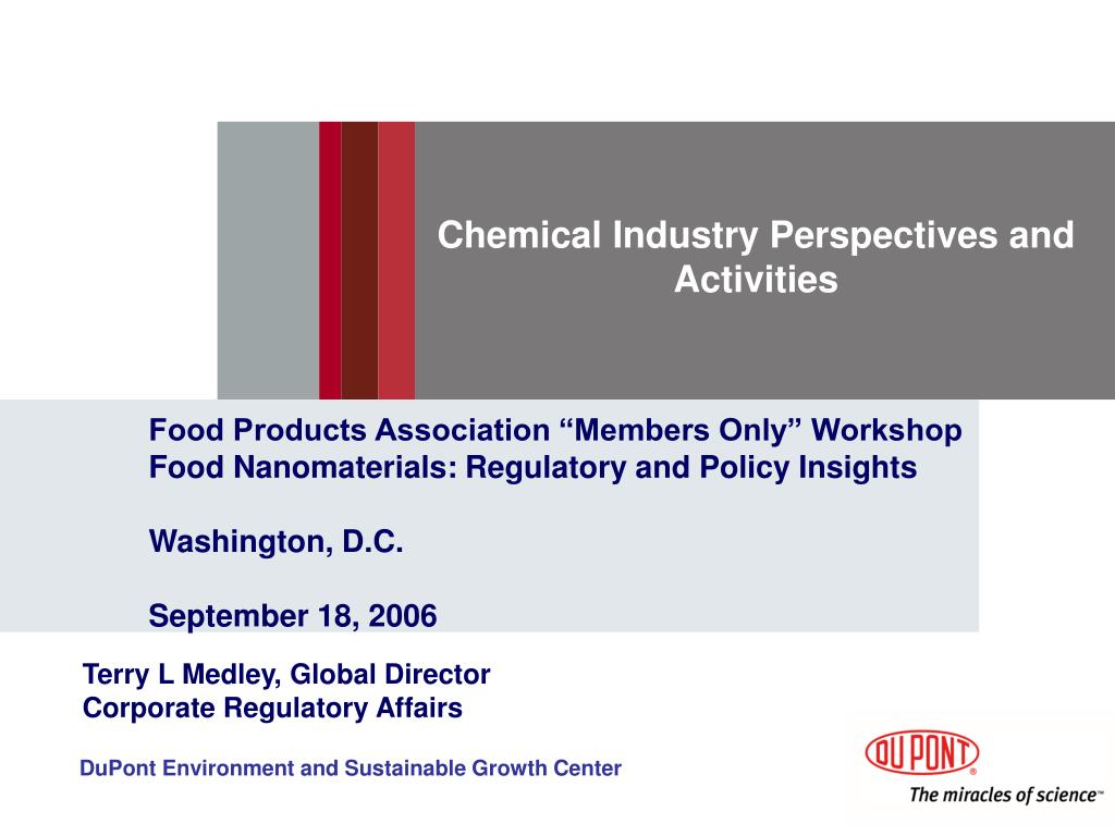 Chemical Industry Perspectives and Activities