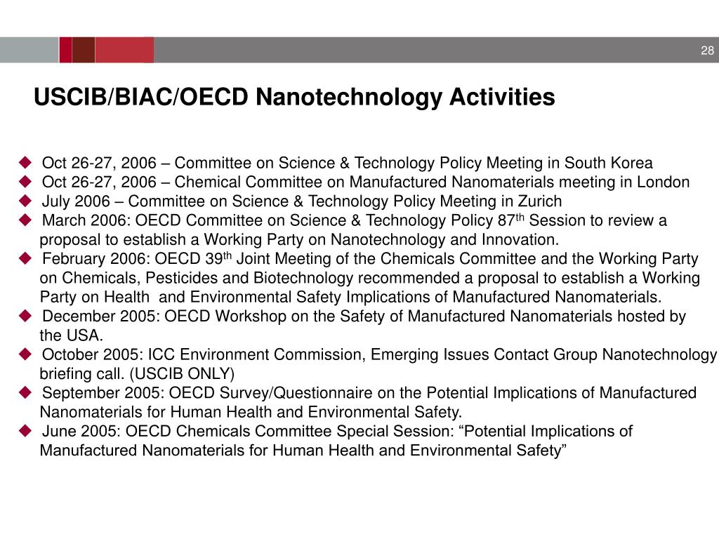 USCIB/BIAC/OECD Nanotechnology Activities