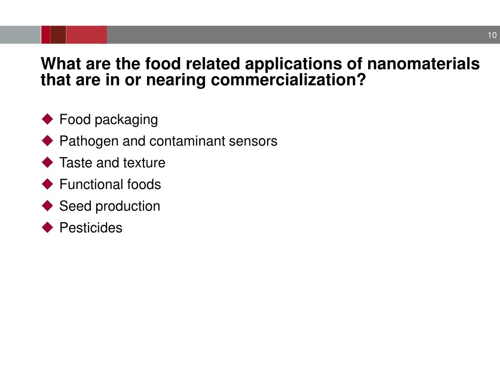 What are the food related applications of nanomaterials that are in or nearing commercialization?