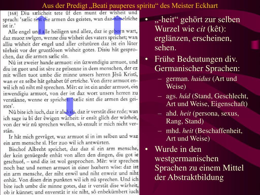 """Aus der Predigt """"Beati pauperes spiritu"""" des Meister Eckhart"""