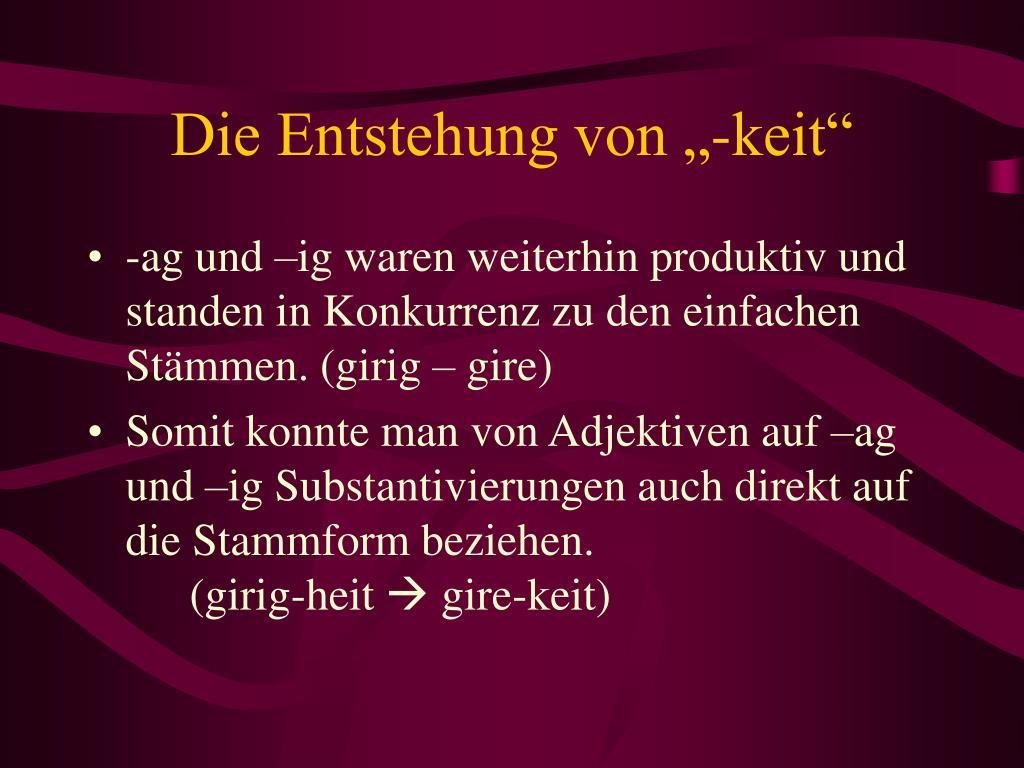 """Die Entstehung von """"-keit"""""""