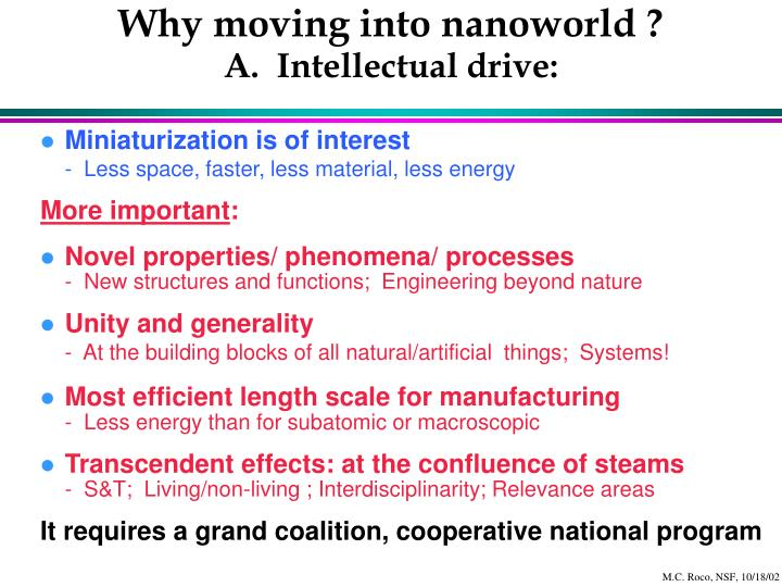 Why moving into nanoworld a intellectual drive