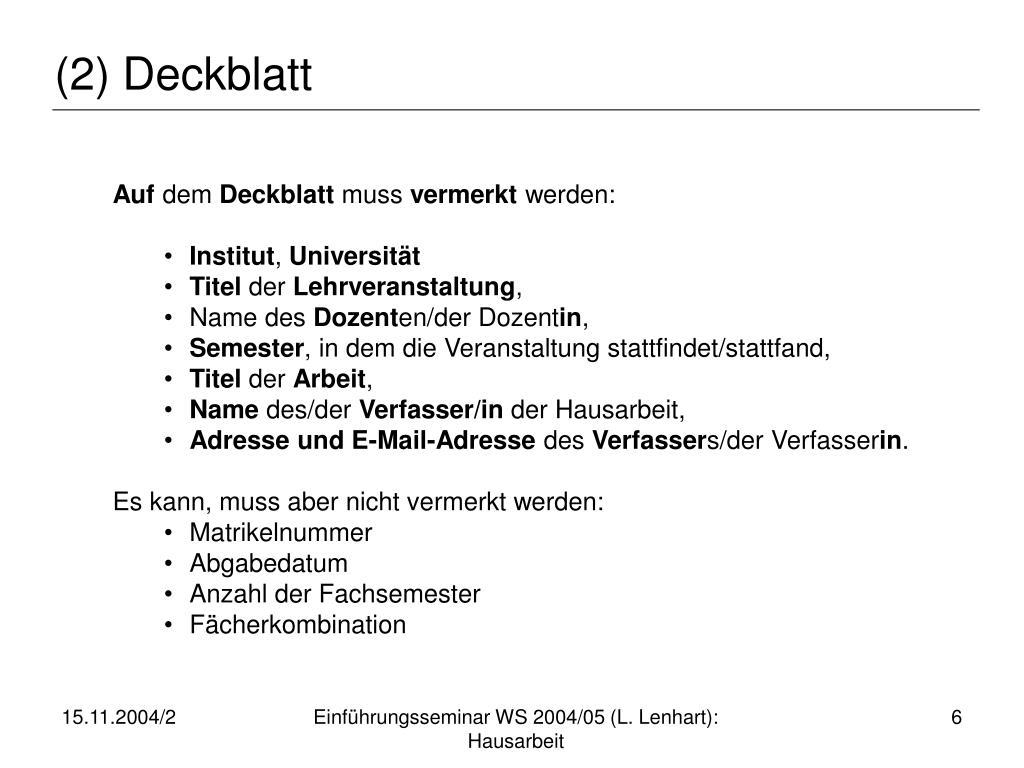 (2) Deckblatt