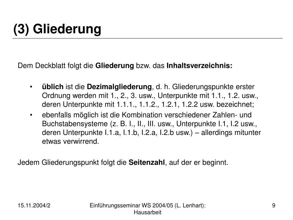 (3) Gliederung