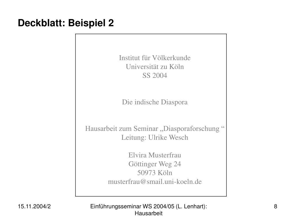 Deckblatt: Beispiel 2