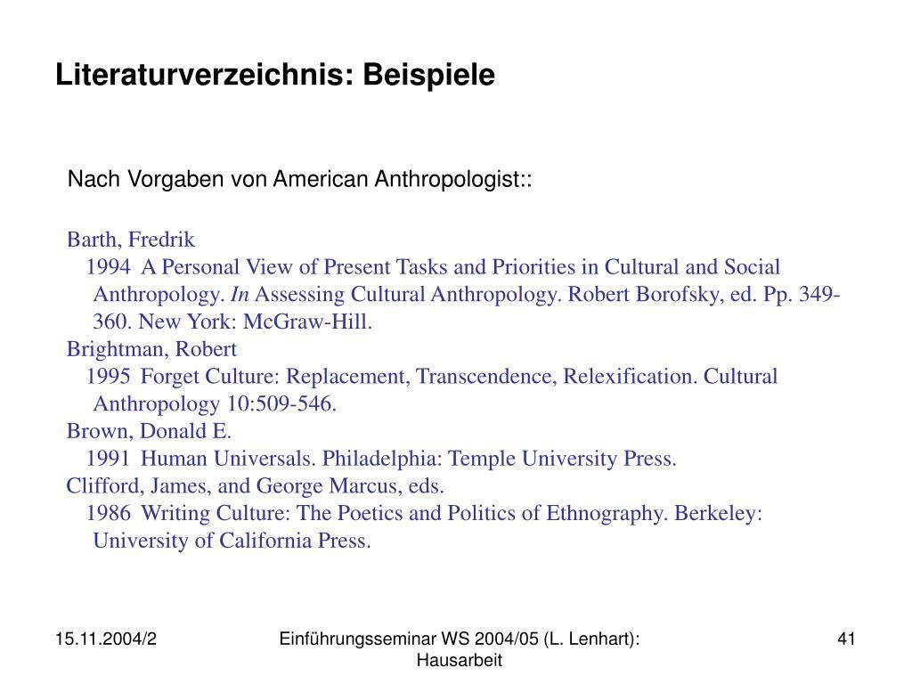 Literaturverzeichnis: Beispiele