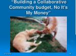 building a collaborative community budget no it s my money