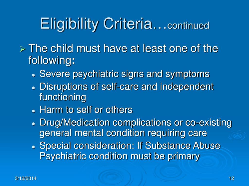 Eligibility Criteria…