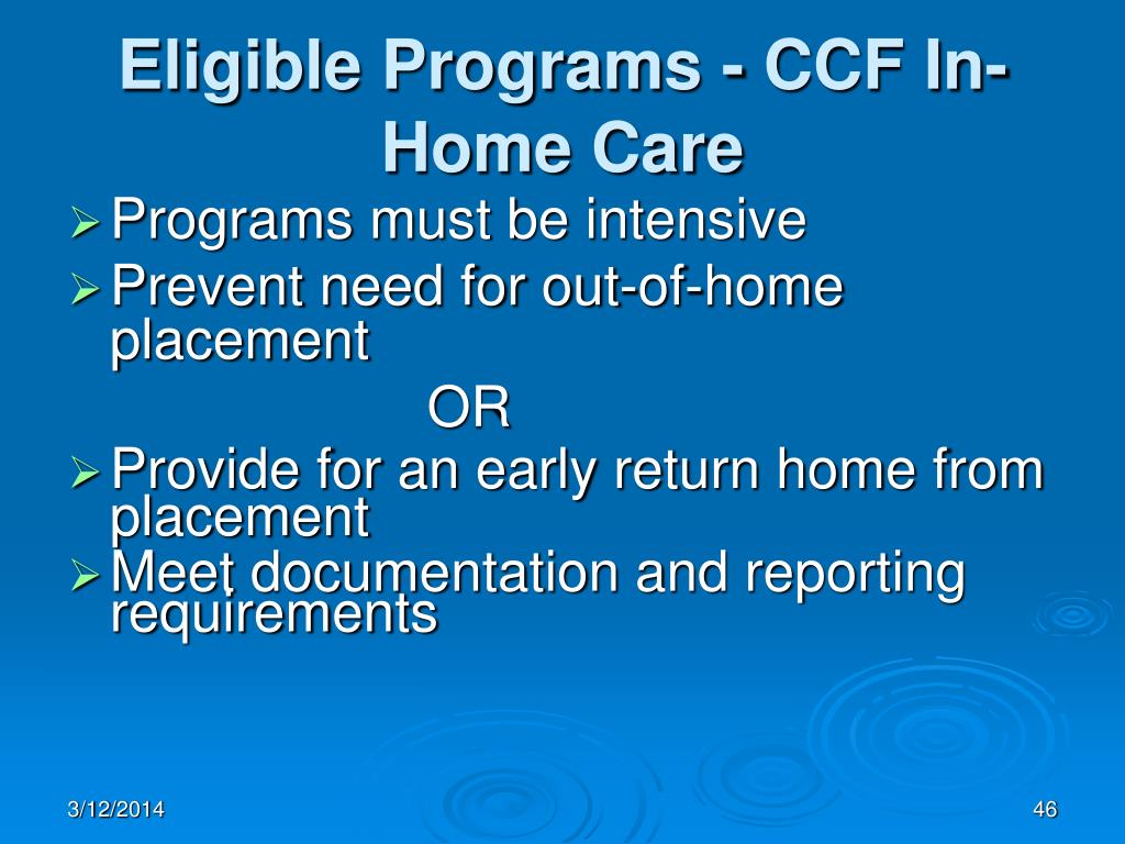 Eligible Programs - CCF In-Home Care