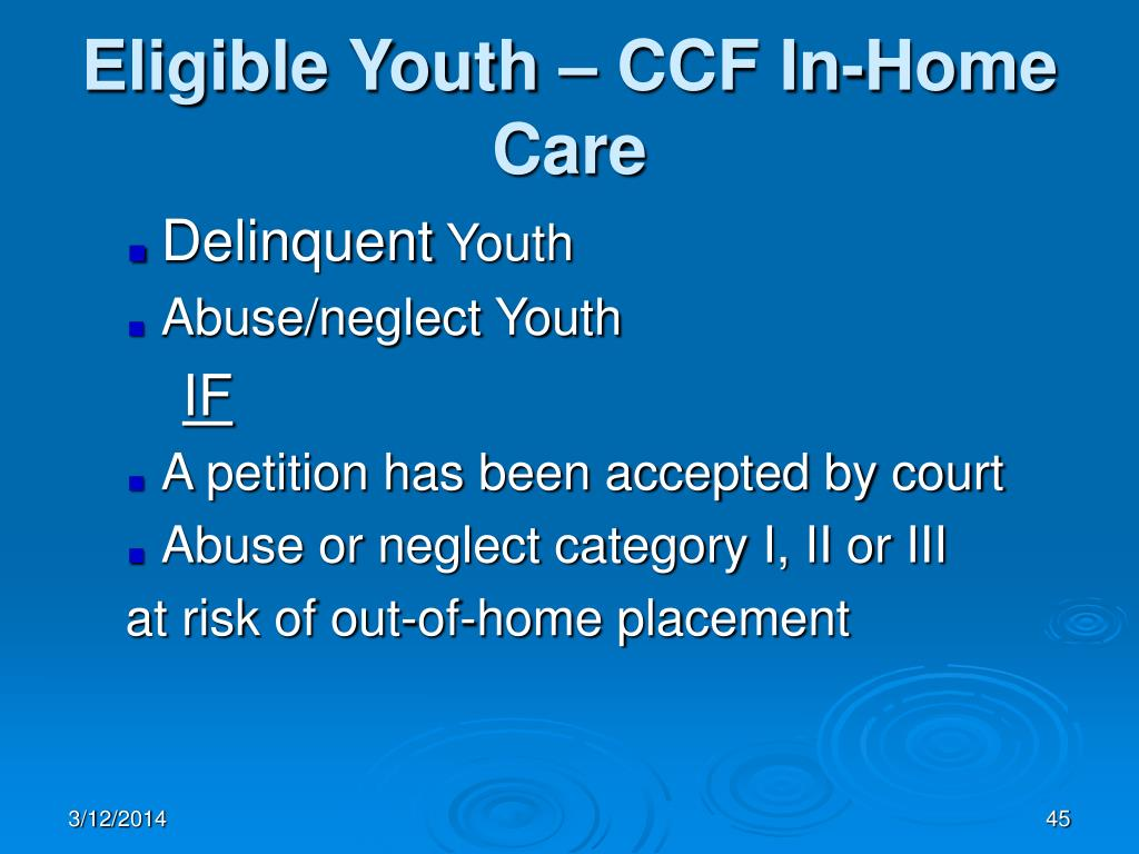 Eligible Youth – CCF In-Home Care