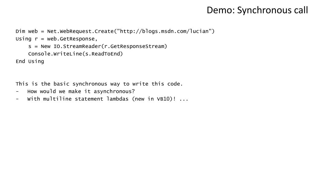Demo: Synchronous call