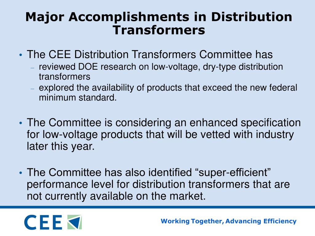 Major Accomplishments in Distribution Transformers
