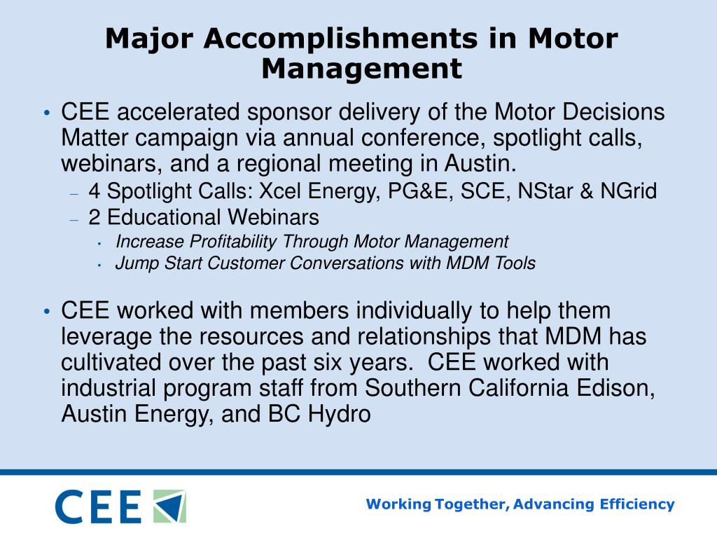 Major Accomplishments in Motor Management