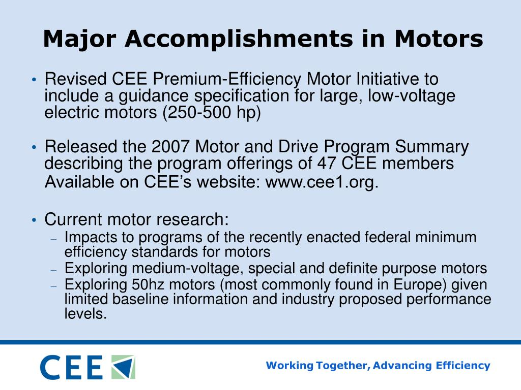 Major Accomplishments in Motors